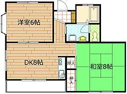 東京都国分寺市並木町2丁目の賃貸アパートの間取り