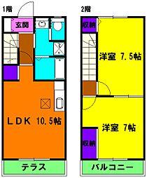 静岡県浜松市浜北区新原の賃貸アパートの間取り