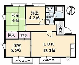 広島県呉市阿賀南3丁目の賃貸アパートの間取り