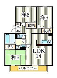 アンクレージュ新柏D[2階]の間取り