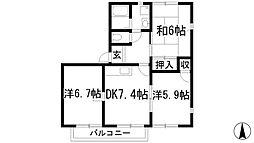 兵庫県宝塚市中筋1丁目の賃貸アパートの間取り