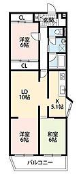 間取り図。独立した居室が3部屋ございます。
