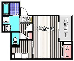 大阪府堺市堺区南庄町1丁の賃貸アパートの間取り