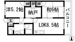 兵庫県川西市鴬の森町の賃貸マンションの間取り