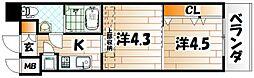 福岡県北九州市小倉北区船場町の賃貸マンションの間取り