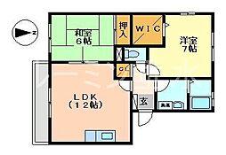 兵庫県神戸市垂水区西舞子7丁目の賃貸アパートの間取り