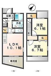愛知県清須市春日神明の賃貸アパートの間取り