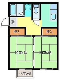 石坂コーポ B 2階2Kの間取り