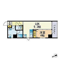 Scena箱崎駅前 2階1LDKの間取り