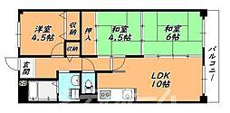 大阪府大阪市天王寺区上本町9丁目の賃貸マンションの間取り
