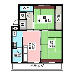 ビレッジハウス可児 1号棟[2階]の間取り