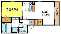 大阪府大阪市平野区背戸口5丁目の賃貸アパートの間取り