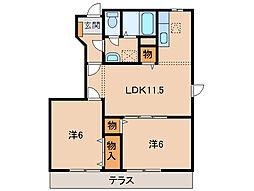 和歌山県海南市小野田の賃貸アパートの間取り