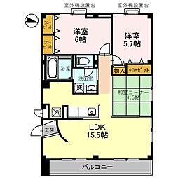 兵庫県三木市緑が丘町西5丁目の賃貸マンションの間取り