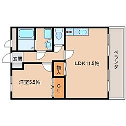 近鉄奈良線 東生駒駅 徒歩15分の賃貸マンション 2階1LDKの間取り
