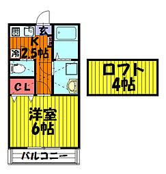KハウスR[205号室]の間取り
