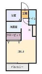 JR姫新線 余部駅 3.6kmの賃貸アパート 1階ワンルームの間取り