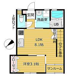 e−Japan奥田本町[B203号室]の間取り