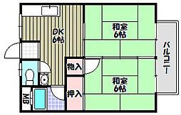 山本ハイツ[1階]の間取り