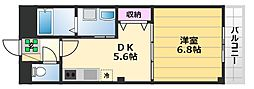 ガーデンヒルズ1 1階1DKの間取り