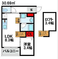 Bears03(ベアーズ) 2階1LDKの間取り