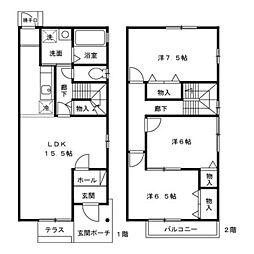 [テラスハウス] 石川県金沢市鞍月5丁目 の賃貸【/】の間取り
