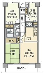 東京都青梅市滝ノ上町の賃貸マンションの間取り