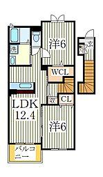 トエムフェルトB[2階]の間取り