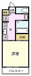 JR中央線 国分寺駅 徒歩23分の賃貸アパート 1階1Kの間取り