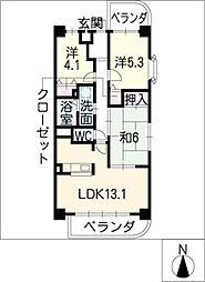 サニーシャトー[3階]の間取り