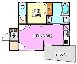 ザ・シティ東須磨V[1階]の間取り
