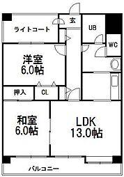 北海道札幌市豊平区豊平四条9丁目の賃貸マンションの間取り