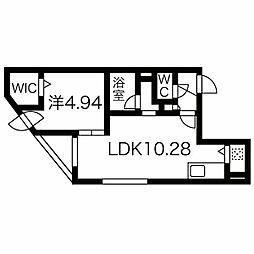 癒禅44 5階1LDKの間取り