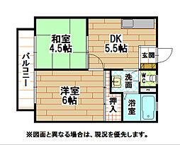 福岡県北九州市小倉北区白萩町の賃貸アパートの間取り