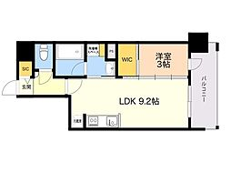 ラクレイス平尾山荘通り 7階1LDKの間取り