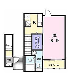 東京都立川市幸町2丁目の賃貸アパートの間取り