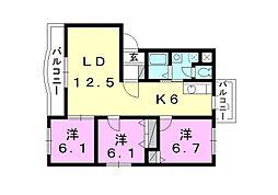 ボヌールレジデンスB棟[301 号室号室]の間取り