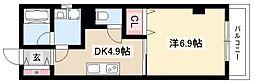 仮称 La Veriteノムラ大喜新町 3階1DKの間取り
