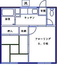 米田コーポ[202号室]の間取り