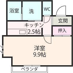 JR横須賀線 逗子駅 徒歩2分の賃貸アパート 2階1Kの間取り
