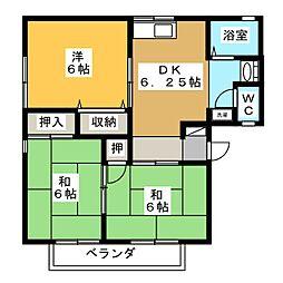 セジュール林B[2階]の間取り