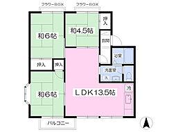 セジュール横堀C棟 1階3LDKの間取り