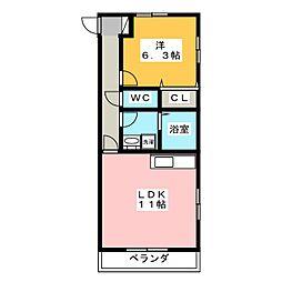 静岡県裾野市伊豆島田の賃貸マンションの間取り