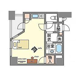 家具・家電付き ロマネスク渡辺通り[7階]の間取り