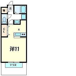兵庫県神戸市西区水谷2丁目の賃貸アパートの間取り