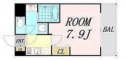 セオリー大阪ベイシティ 7階1Kの間取り