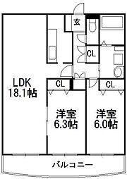 北海道札幌市西区宮の沢一条4丁目の賃貸マンションの間取り