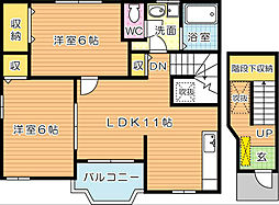 カーササンストーン A棟[2階]の間取り