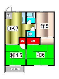 第2富田コーポ[2階]の間取り