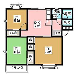 ヴィラ三井[2階]の間取り